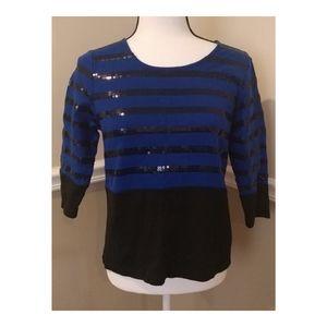 Rafaella Black Blue Sequin Stripe Top S